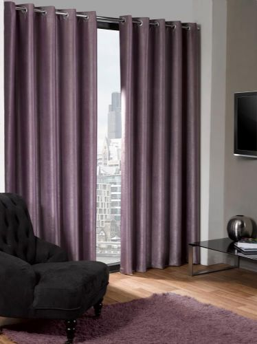 ECO PLAIN AUBERGINE PURPLE COLOUR READYMADE SUEDE THERMAL BLACKOUT EYELET CURTAINS